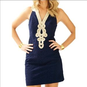 NWT Lilly Pulitzer Navy StarFish Eyelet Dress Sz 8